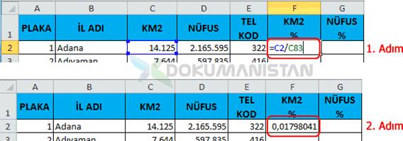 Dolar İşareti Kullanımında Türkiye km2 ye göre yüzdesel dağılımı