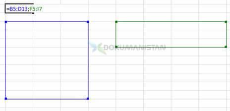 Formülde iki ayrı dikey ve yatay tablo dizisi seçimi