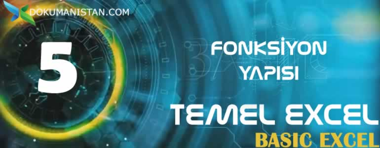 TEMEL EXCEL 5 Fonksiyon Yapisi  - Fonksiyon Yapısı - Temel Excel #05