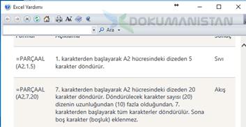 Excel Parça Al Yardım Ekranı-2
