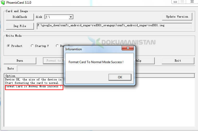 PhoenixCard Disk Format Card To Mode Success