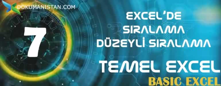 TEMEL EXCEL 7 Siralama Duzeyli Siralama - Sıralama ve Düzeyli Sıralama - Temel Excel #07