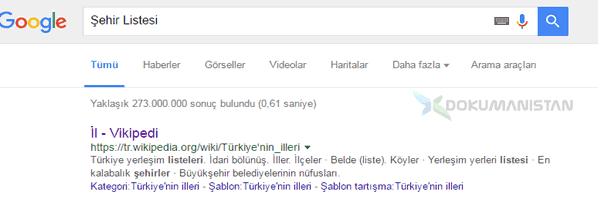 Google Sehir Liste aratması wikipedia