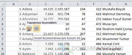 webden excel yapistir hedef bicimlemesiyle eslestir - Özel Liste ve Özel Sıralama - Temel Excel #08