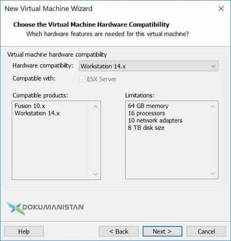 Choose the Virtual Machine Hardware Compatibity