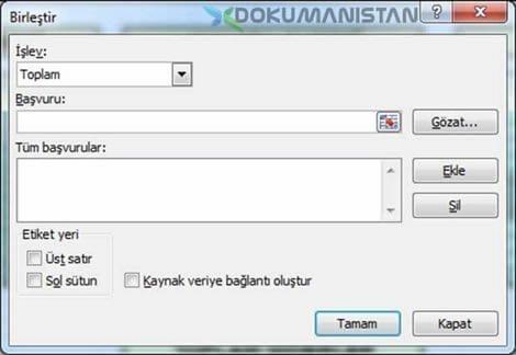 Excel Veri Birleştir Daha Consolide Özellikleri