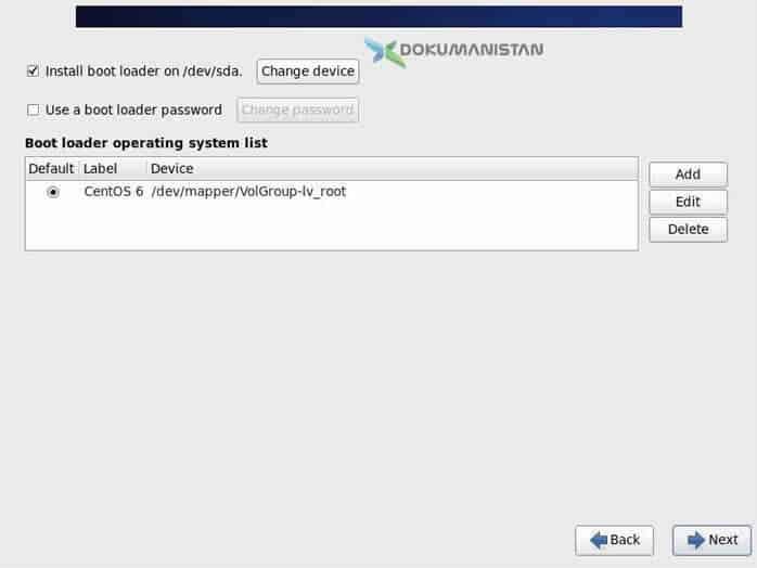 Instal boot loader on /dev/sda