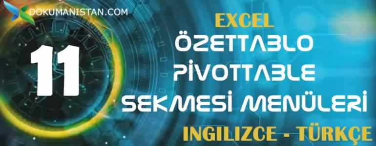 Excel Özet Tablo - Pivot Table Sekmesi İngilizce Türkçe Karşılıkları