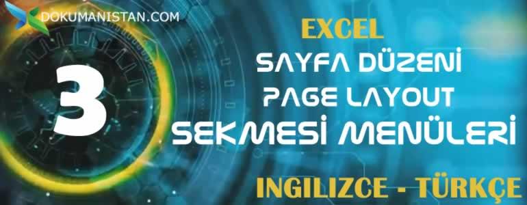 Excel Sayfa Düzeni - Page Layout Sekmesi İngilizce Türkçe Karşılıkları
