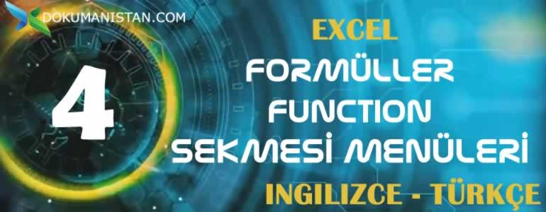 Excel Formüller - Function Sekmesi İngilizce Türkçe Karşılıkları