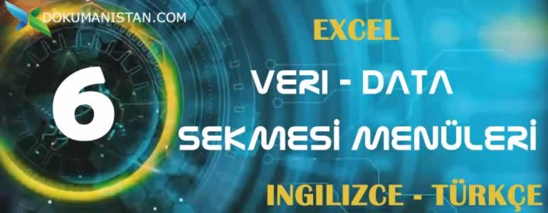 Excel Veri - Data Sekmesi İngilizce Türkçe Karşılıkları
