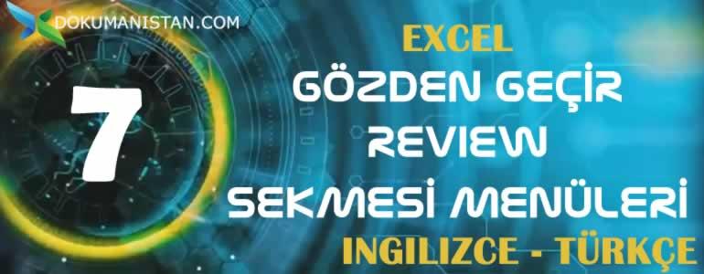 Excel Gözden Geçir - Review Sekmesi İngilizce Türkçe Karşılıkları