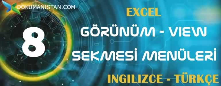 Excel Görünüm - View Sekmesi İngilizce Türkçe Karşılıkları