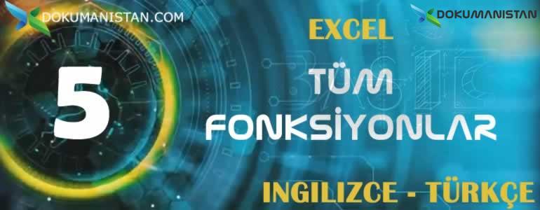 EXCEL INGILIZCE TURKCE Tum Fonksiyonlar - Excel İngilizce Fonksiyon Formül Türkçe İsimler