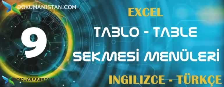 Tablo Table Sekmesi