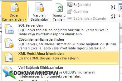 Excel Dış Veri Al XML Verisi Alma İşleminden