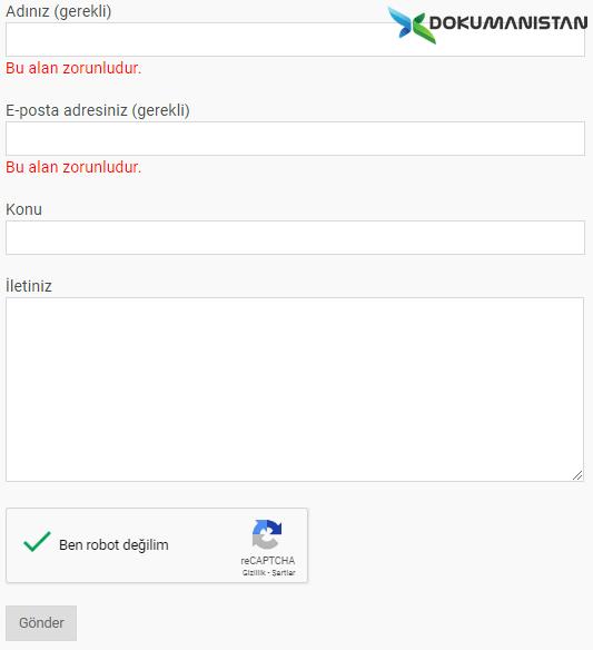 Web Form Veri Doğrulama Örnek