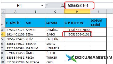 Telefon Formatı Veri olarak yazdırmak