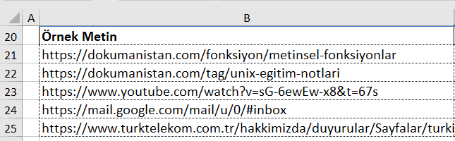 URL den Alan Adını Alma liste