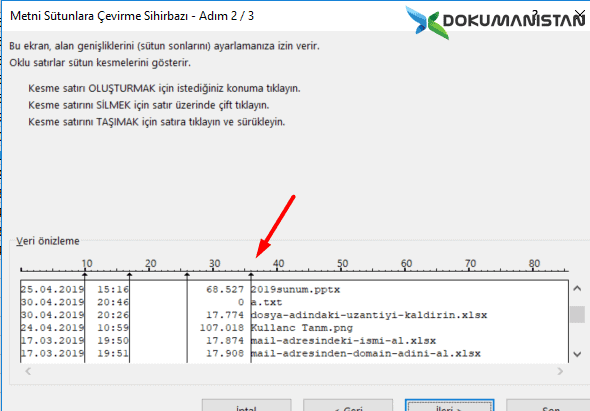 Excel Metni Sütunlara Dönüştür 2-3 Aşama