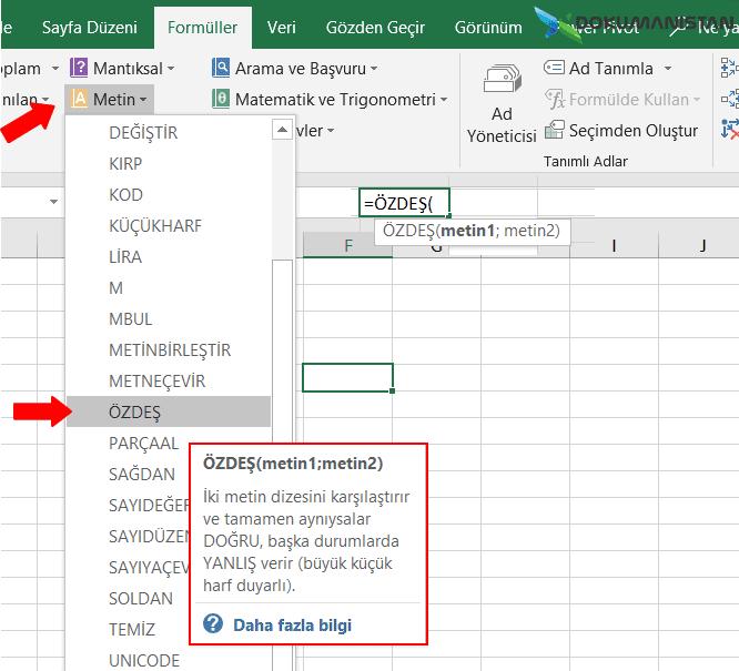 ÖZDEŞ EXACT Fonksiyonu Exceldeki Yeri