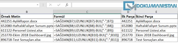 Excel Metindeki Belirli Karakterden Bölme Örnek Listesi
