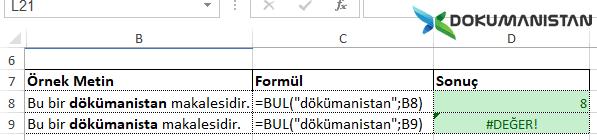 Excel Cümledeki kelime arama İlk Adım