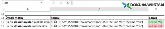 Excel Cümledeki kelime arama Sonuç