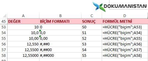 Hücre Fonksiyonu Sayısal Biçim Formatı