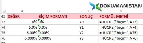 Hücre Fonksiyonu Yüzde Biçim Formatı