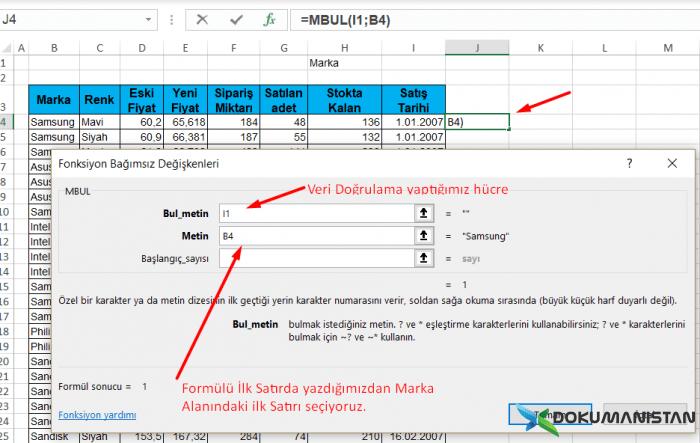 MBUL Fonksiyonu Veri Girisi