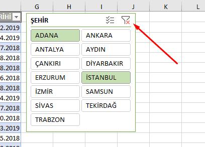 Excel Dilimleyici Filtre Temizleme