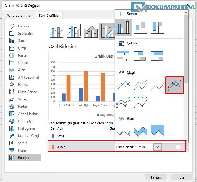Birleştirilmiş Grafikte Çizgi Grafik Ekleme
