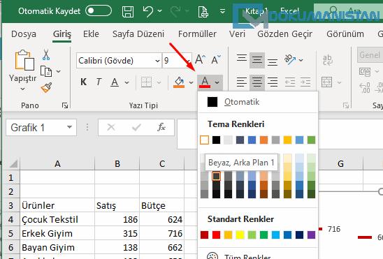 Grafikte Veri Etiketindeki Yazılara Renk Verme