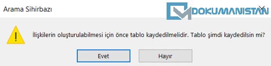 Access Arama Sihirbazı Onay