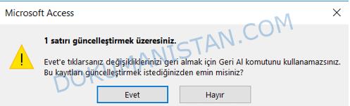 Güncelleştirme Onay Ekranı