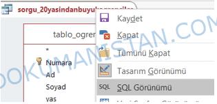 SQL Görünümüne Geç