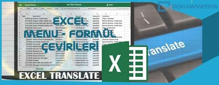 Excel Translate - Menü Fonksiyon Türkçe İngilizce Çeviri